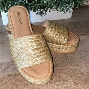 Brand New Braided Slip On Platform Sandals